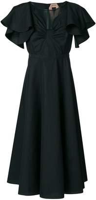 No.21 sheer panel midi dress
