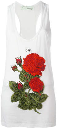 Off-White rose embroidery tank