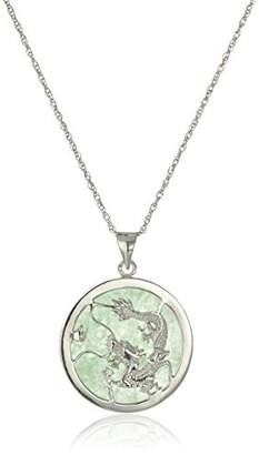 Dragon Optical Rhodium-Plated Sterling Silver Jade Small Pendant Necklace