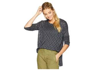 Mod-o-doc Distressed Sweater Knit Boxy Drop Shoulder Sweater