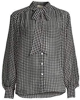 Kate Spade Women's Tie-Neck Houndstooth Chiffon Button-Down Blouse