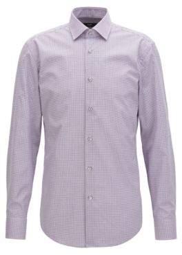 BOSS Hugo Checked Cotton Dress Shirt, Slim Fit Jenno 17.5 pink