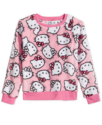 Hello Kitty Toddler Girls Kitty-Print Faux-Fur Sweater