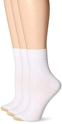 Gold Toe Women's Non-Binding Salon Short Crew 3 Pack, White, 9-11