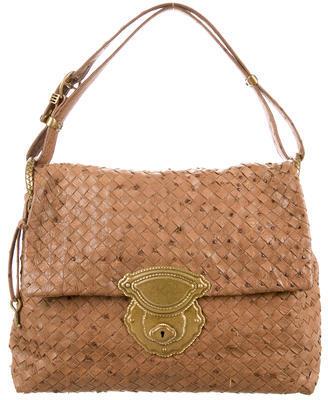 Bottega VenetaBottega Veneta Ostrich Intrecciato Handle Bag