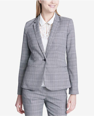 Calvin Klein One-Button Plaid Blazer, Regular & Petite