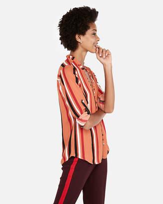 Express Slim Fit Stripe Ruffle Collar Portofino Shirt