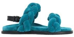 Marco De Vincenzo Braided Velvet Slingback Sandals