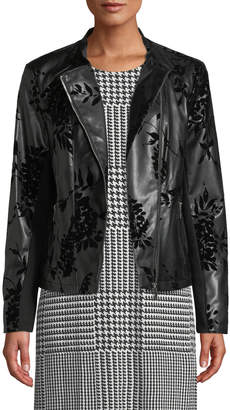 Moto Iconic American Designer Floral Velvet-Embossed Faux-Leather Jacket