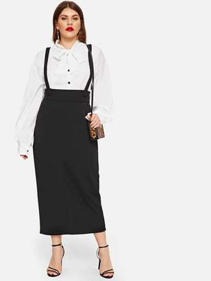Shein Plus Wide Waist Pencil Skirt With Strap