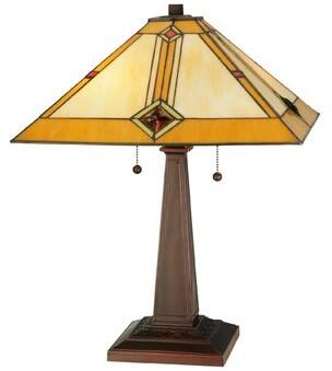 "Tiffany & Co. Meyda Diamond Mission 22"" Table Lamp Meyda"
