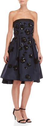 Carolina Herrera Floral Applique Strapless Dress