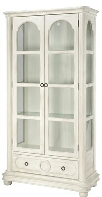 Stein World Leena Antique White With Clear Glass Display Cabinet