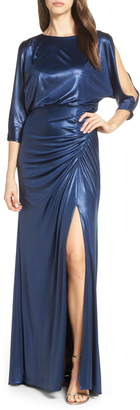 Adrianna Papell Metallic Blouson Evening Dress