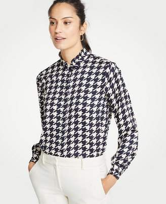 Ann Taylor Petite Houndstooth Ruffle Button Down Blouse