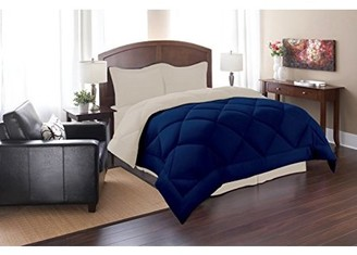 Elegant Comfort Goose Down Alternative Reversible 3pc Comforter Set- Available In A Few Sizes And Colors , King/Cal King, Navy/Cream
