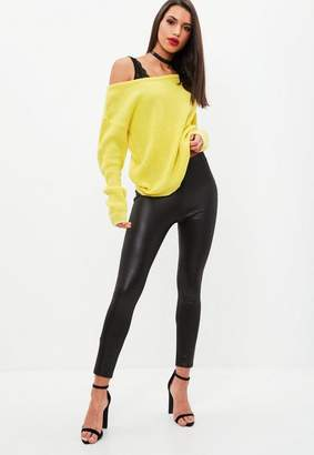Missguided Yellow Off Shoulder Sweater