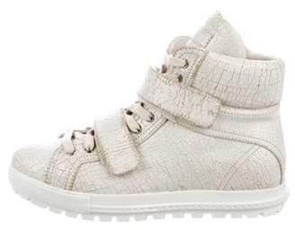Miu Miu Cracked Wedge Sneakers