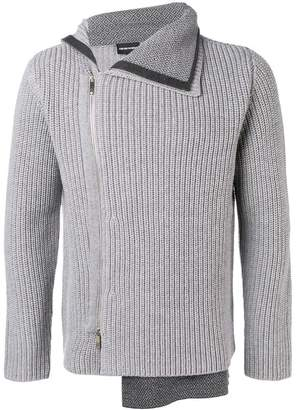 Emporio Armani asymmetric ribbed knit cardigan
