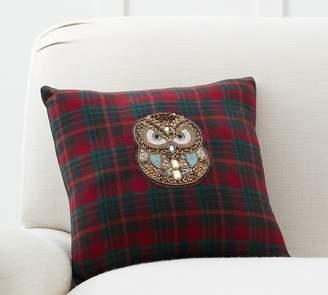 Pottery Barn Jeweled Owl Plaid Pillow