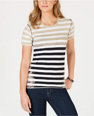 Lucky Brand Cotton Ombre-Striped T-Shirt