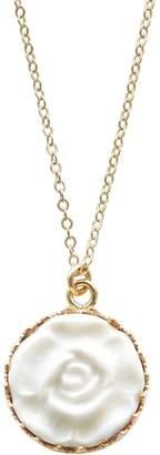 POPORCELAIN - Porcelain Moonlight Rose Charm Gold Filled Necklace