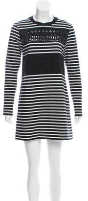 Thakoon Striped Lace-Accented Mini Dress