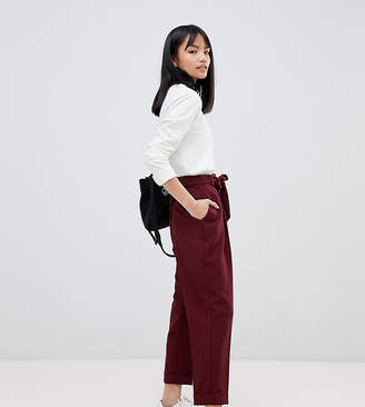 Asos DESIGN Petite woven peg trousers with obi tie