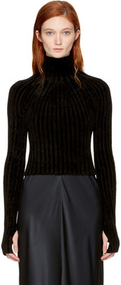 Helmut Lang Black Cropped Velvet Turtleneck $345 thestylecure.com
