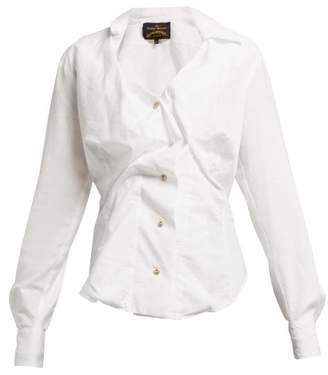 Vivienne Westwood Twisted Cotton Blouse - Womens - White