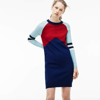 Lacoste Women's Stretch Wool Jersey Colorblock Sweater Dress