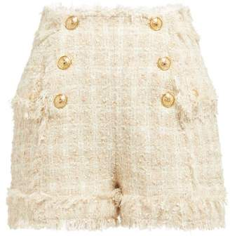 Balmain High Rise Tweed Shorts - Womens - Beige
