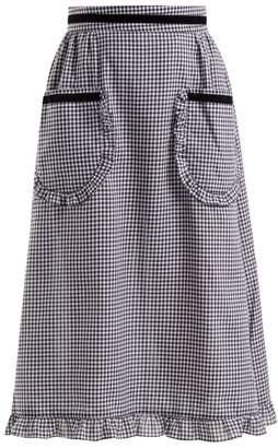 Batsheva - Gingham Ruffle Trimmed Cotton Skirt - Womens - Black White