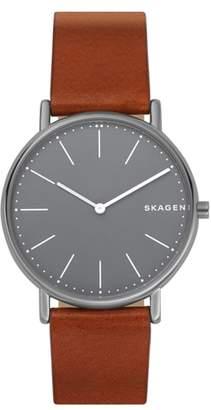 Skagen Signatur Slim Leather Strap Watch, 40mm