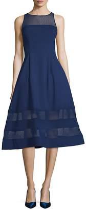 Aidan Mattox Women's Illusion-Neck Fit-&-Flare Dress