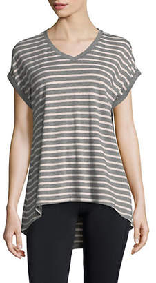 Calvin Klein Striped High-Low V-Neck Tee