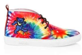 Del Toro Grateful Dead Blue Bear Tie-Dye Leather Chukkas