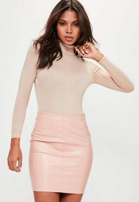 Missguided Long Sleeve Turtle Neck Bodysuit Nude