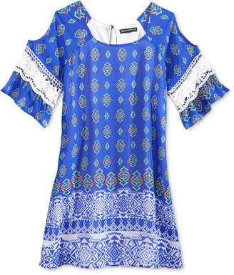 Sequin Hearts Cold-Shoulder Geo-Print Shift Dress, Big Girls (7-16) $58 thestylecure.com