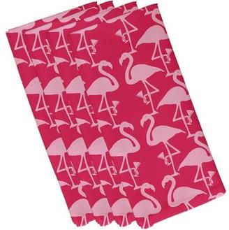 Simply Daisy, 19 x 19 inch, Flamingo Heart Martini, Animal Print Napkin (set of 4), Pink