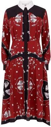 Sandro Paisley Asymmetric Hem Dress