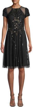 Aidan Mattox Cap-Sleeve Illusion Cocktail Dress w/ Embellishments