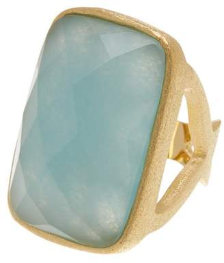 Rivka Friedman 18K Gold Clad Faceted Caribbean Blue Quartzite Open Shank Ring
