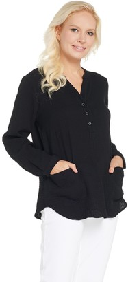 Joan Rivers Classics Collection Joan Rivers Crinkle Texture V-Neck Tunic with Pockets