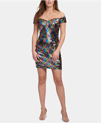 GUESS Off-The-Shoulder Sequined Shift Dress