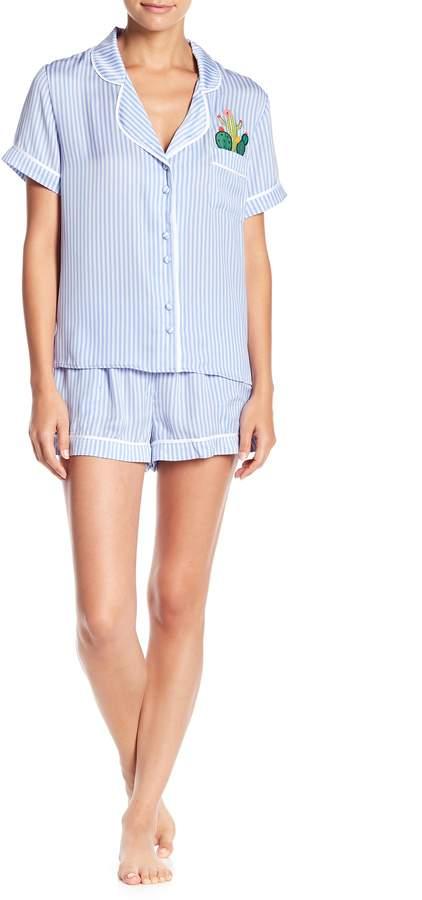 Room Service Notch Collar Shirt & Shorts Satin PJ Set