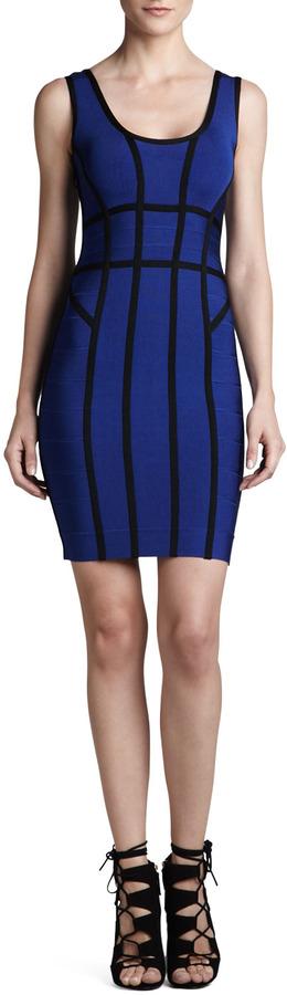 Herve Leger Contrast-Stripe Scoop-Back Bandage Dress