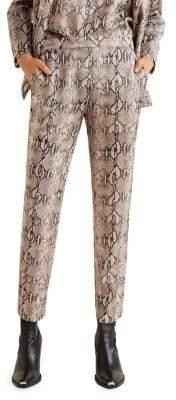 MANGO Snake-Print Straight-Fit Trousers