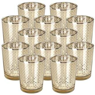 """Just Artifacts Glass Votive Candle Holder 2.75"""" H (12pcs, Lattice Gold) - Mercury Glass Votive Tealight Candle Holders for Weddings, Parties and Home Decor"""