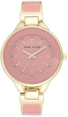 Anne Klein Women's Goldtone Pink Glitter Watch